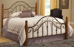San Marco Wood and Metal Post Bed Set with Rails - Queen - Brown Copper and Light Rust [310BQR-FS-HILL]