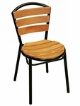 Sand Key Collection Black Frame Stackable Outdoor Side Chair [AL-308TK-BLACK-FLS]