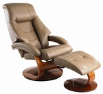 Oslo Top Grain Leather 2 Pc. Swivel Recliner and Ottoman with Pillow Top Back Cushion - Sand [58-LO3-24-103-FS-MAC]