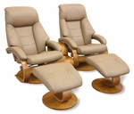 Oslo Top Grain Leather 2 Pc. Swivel Recliner and Ottoman with Pillow Top Back Cushion - Sand - Set of 2 [58-LO3-24-103-TT-103-CTC-FS-MAC]