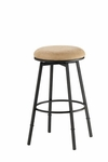 Sanders Height Adjustable Backless Stool with Bear Fabric Swivel Seat - Matte Black [4150-831-FS-HILL]