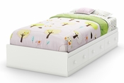Savannah Collection Twin Mates Bed (39'') Pure White
