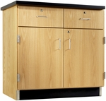 Science Lab Wooden Base Cabinet with 2 Locking Doors and Drawers - 36''W x 22''D x 35''H [106-3622-DW]