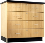 Science Lab Wooden Base Cabinet with 4 Locking Drawers - 36''W x 22''D x 35''H [121-3622-DW]