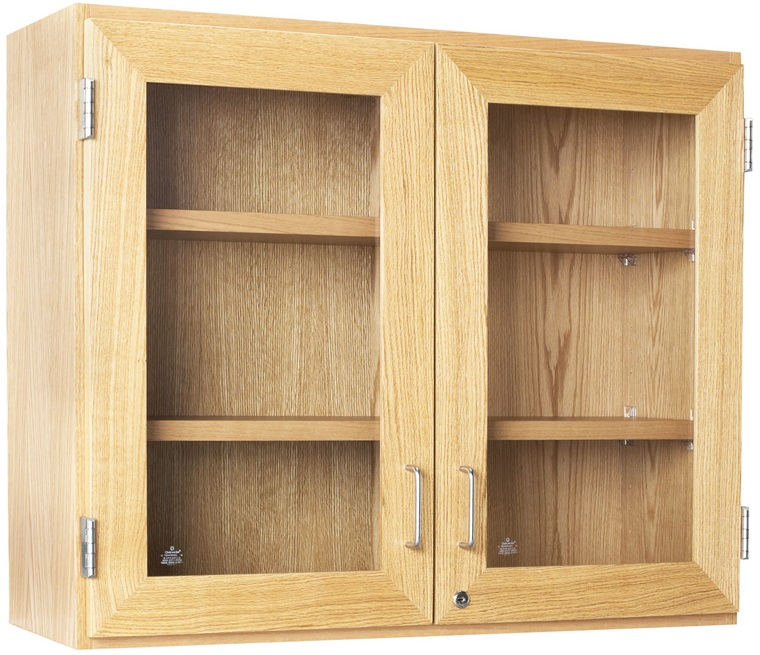 Science Lab Wooden Wall Cabinet With 2 Adjustable Shelves