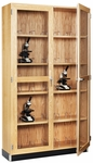Science Lab 20 Microscope Wooden Storage Case with Locking Tempered Glass Doors - 36''W x 16''D x 84''H [372-3616-DW]