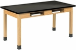Science Lab Wooden Table with 1.25'' Thick Black ChemGuard Top and 2 Book Compartments - 48''W x 24''D x 30''H [C7102K30N-DW]
