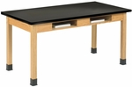 Science Lab Wooden Table with 1'' Thick Black Epoxy Resin Top and 2 Book Compartments - 48''W x 24''D x 30''H [C7106K30N-DW]