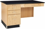 Science Instructor's Wooden Side Desk with 1'' Thick Black Epoxy Resin Top - 48''W x 30''D x 30''H [1146K-DW]