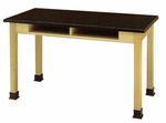 Wood and Laminate Science Lab Table with Regular Top and Two Storage Slots [700S-2448-BT-GCC]