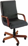 Quick Ship Scoop Executive Swivel Chair with Wood Arms [1001-FS-HPF]