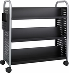 Scoot™ 41.25'' W x 17.75'' D Six Shelf Double Sided Book Cart - Black [5335BL-FS-SAF]