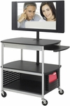 Scoot™ 39.5'' W x 27'' D x 68'' H Open Flat Panel Multimedia Cart - Black [8940BL-SAF]