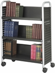 Scoot™ 33'' W x 14.25'' D x 44.25'' H Three Shelf Single Sided Book Cart - Black [5336BL-FS-SAF]