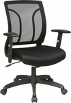 Work Smart Screen Back and Mesh Seat Chair with Adjustable Arms - Black [EM50727-3-FS-OS]