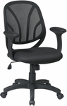 Work Smart Screen Back Mesh Seat Managers Chair with Padded Arms and Casters - Black [EM20522-3-FS-OS]