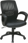 Work Smart Screen Back Contoured Shell Office Chair with Leather Seat and Padded Arms - Black [EM59722-EC3-FS-OS]