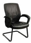 Work Smart Screen Back Designer Contoured Shell Visitor Chair with Bonded Leather Seat - Black [EM5972V-EC3-FS-OS]
