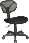 Work Smart Screen Back Armless Task Chair with Adjustable Seat Height and Nylon Base with Casters - Black [EM20600-3-FS-OS]