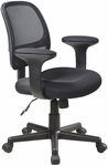 Work Smart Screen Back Task Chair with Lumbar Support and Padded Arms - Black [EM20222-3-FS-OS]