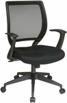 Work Smart Woven Mesh Back Task Chair with Dual Wheel Carpet Casters - Black [EM51022N-3-FS-OS]