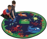 Circular Sea Hunt Educational Nylon Rug