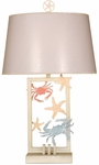 Beach Laser Cut Metal Sea Life 28''H Table Lamp with Organza Fabric Shade - Multicolor [10T209-FS-PAS]