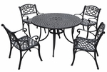 Sedona 48'' Five Piece Cast Aluminum Outdoor Dining Set with Arm Chairs in Black Finish [KOD6001BK-FS-CRO]