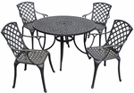 Sedona 48'' Five Piece Cast Aluminum Outdoor Dining Set with High Back Arm Chairs in Black Finish [KOD6002BK-FS-CRO]