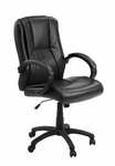 Sella Height Adjustable Ergonomic Leather Office Chair with Lumbar Adjustment - Black [C0401L29-FS-INV]