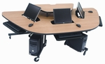 Semi-Recessed Multi User Mobile Computer Work Station [1600-PARG]