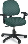 Series 100 300 lb. Capacity Mid - Back Task Chair with Outside Plastic Back,T - Arms and Basic Control - Grade 2 Fabric [L8112T-GRD2-FS-LZBF]