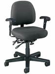 Series 100 300 lb. Capacity Mid - Back Task Chair with Outside Plastic Back,T - Arms and Executive Use Controls - Grade 2 Fabric [L8152T-GRD2-FS-LZBF]