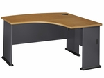 Series A 60'' W x 44'' D L-Bow Desk - Natural Cherry and Slate Gray [WC57422-FS-BBF]