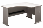 Series A 60'' W x 44'' D L-Bow Desk - White Spectrum and Pewter [WC14522-FS-BBF]