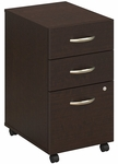 Series C Three Drawer Mobile Pedestal File - Mocha Cherry [WC12953-FS-BBF]
