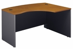 Series C 60'' W x 43'' D L-Bow Desk - Natural Cherry and Graphite Gray [WC72422-FS-BBF]
