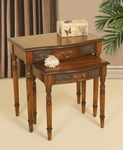 Traditional Wooden Nesting Tables with Tin Panel Accents - Set of 2 - Walnut [2334-FS-PAS]
