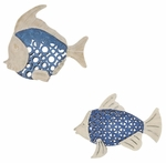 Distressed Metal Sea Blue Fish Wall Art - Set of 2 - Blue and White [2636-FS-PAS]