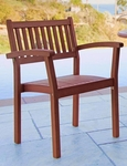 Outdoor Vertical Slat Half Back Stackable Arm Chairs - Set of 4 [V1080-FS-VIF]