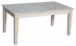 Shaker Classic Solid Parawood 24''W X 18''H Coffee Table - Unfinished [OT-9TC-FS-WHT]