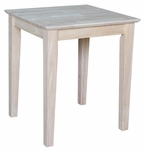 Shaker Classic Solid Parawood 21''W X 25''H End Table - Unfinished [OT-9TE-FS-WHT]