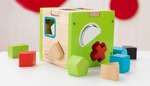 Early Childhood Development Wooden Colorful Shape Sorting Cube Includes 10 Wooden Blocks [63247-FS-KK]
