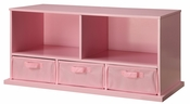 Shelf Storage Cubby with Three Baskets - Pink