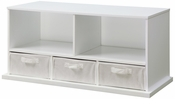 Shelf Storage Cubby with Three Baskets - White