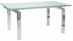 Shelly Extension Dining Table with Chrome Frame [02340G-02342C-FS-ERS]