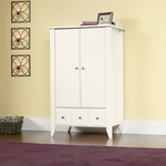 Shoal Creek 35''W x 54''H Wooden Armoire with 2 Adjustable Shelves - Soft White [411202-FS-SRTA]