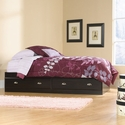 Shoal Creek 38''W x 15''H Twin Size Wooden Bed with 2 Under-Bed Drawers - Jamocha