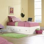 Shoal Creek 40''W x 15''H Twin Size Wooden Bed with 2 Under-Bed Drawers - White [411222-FS-SRTA]