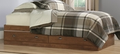 Shoal Creek 38''W x 15''H Twin Size Wooden Bed with 2 Under-Bed Drawers - Oiled Oak